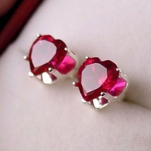 2.5ct Heart Cut 7mm created Burmese Ruby Stud Earrings - $13.00