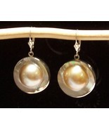 Blister Pearl Sterling Silver Earrings 25 mm Round MADE IN USA - $155.00