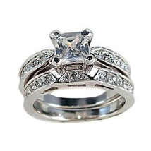 2c Princess Cut Russian Ice CZ Wedding Rings Set sz 10 - $69.00