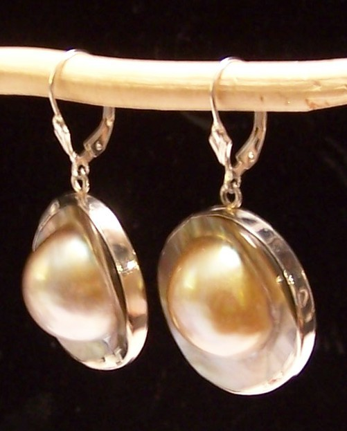 Blister Pearl Sterling Silver Earrings 25 mm Round MADE IN USA