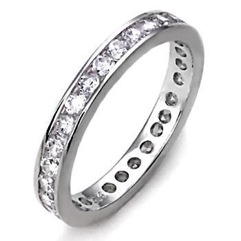 2mm Russian Ice CZ Brilliant Cut Eternity Band Ring s 6