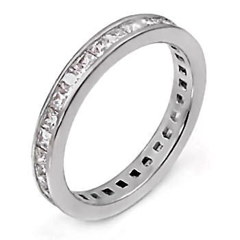 2mm Russian Ice CZ Princess Cut Eternity Band Ring s 7