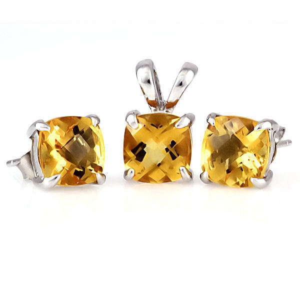 3.2ct Golden Topaz Crystal Cushion Cut 8mm Solitaire Pendant 925 Sterling Silver
