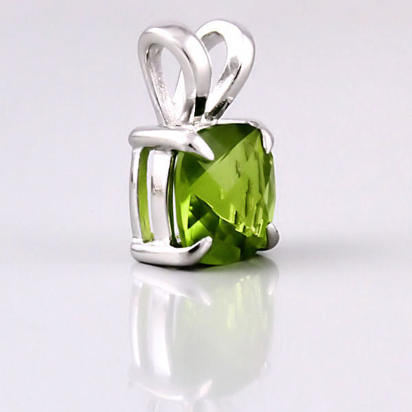 3.2ct Peridot Crystal Cushion Cut 8mm Solitaire Pendant 925 Sterling Silver
