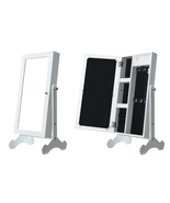 Make Up Mirrored Jewelry Cabinet Armoire Mini Table Organizer with LED L... - $25.99