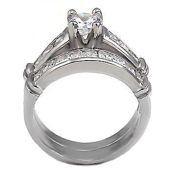 3.3c Russian CZ Bridal Wedding Ring Set 925 Silver sz 6