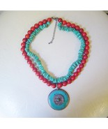 Turquoise & Coral Pendant Necklace Two Strands Vintage  - $38.88 CAD