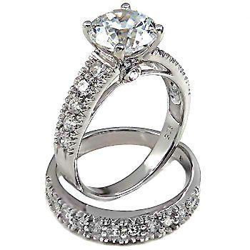 3.8ct Russian CZ Large Solitaire Wedding Ring Set sz 6