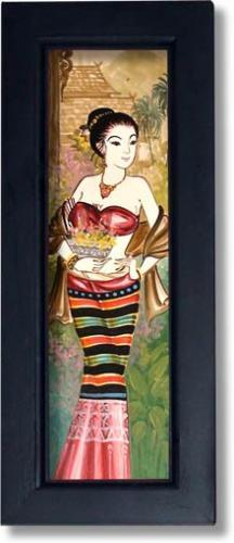 Maiden in a Bronze Wrap Thai Framed Paintings