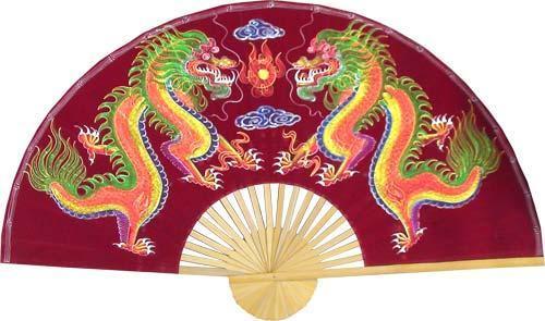 """60"""" width Velvet Maroon Dragons Velvet Painting Wall Fans"""