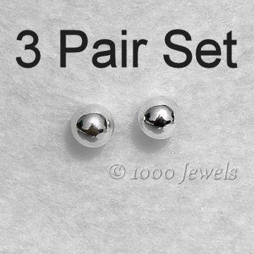 3 Pair Set of 3mm 925 Silver Ball Stud Post Earrings
