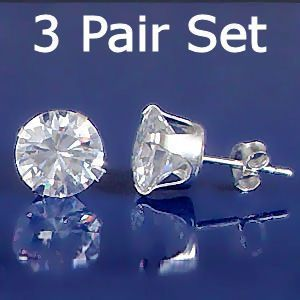 3 Pair Set 4mm Russian Ice CZ Stud Earrings 925 Silver