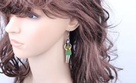 1 pair gentle girls red angel dressed fairy printing drop earrings wings... - $10.00