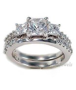 3 Stone PPF Princess Cut Russian Ice CZ Wedding Set  10 - $67.00