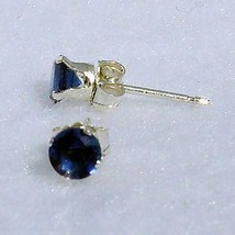 3mm Ceylon Sapphire created Stud Earrings 925 SS 0.2ct - $8.00