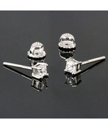 3mm Screw-Back Russian Ice Princess Cut CZ Stud Earrings 925 Silver 0.35... - $18.00