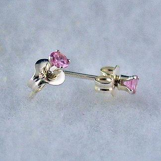 3mm created Pink Sapphire Stud Earrings 925 SS 0.2ct