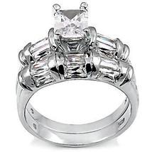 4.7ct Emerald Cut Russian Ice CZ Wedding Ring Set sz 7 - $69.00