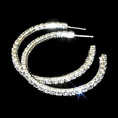45mm Swarovski Crystal Rhinestone Hoop Post Earrings