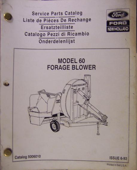 New Holland 60 Forage Blower Parts Manual