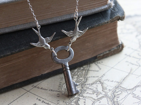 LOVE NEST, Skeleton Key Necklace, Sterling Silver Chain, Silver Bird Charms