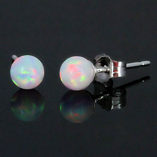 4mm Created Fiery White Opal Ball Stud Post Earrings 925 Sterling Silver