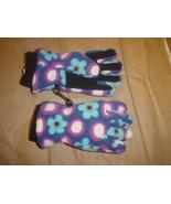 Land's End Fleece Gloves Small Purple/Blue Floral - $17.99