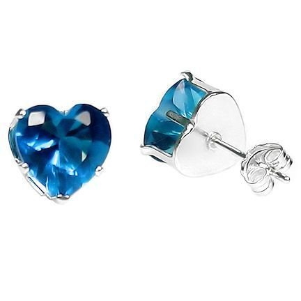 4mm Heart Cut Blue Zircon Post Stud Earrings 925 Silver