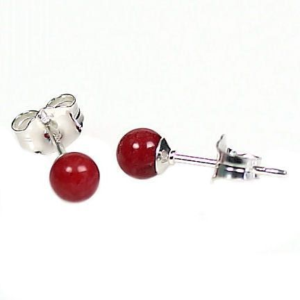 4mm Italian Red Coral Ball Stud Earrings 14K White Gold
