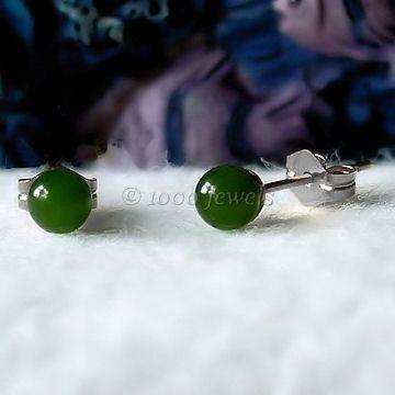 4mm Nephrite Green Jade Ball Stud Earrings 14K White