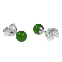 4mm Nephrite Green Jade Ball Stud Post Earrings Solid 925 Sterling Silver - $12.00