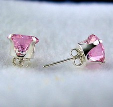 4mm created Pink Sapphire Stud Earrings 925 SS 0.5ct - $8.50