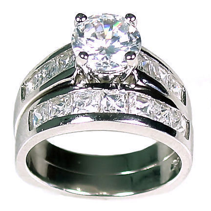 5.38 ct Russian Ice CZ Wedding Ring Set 925 Silver sz 7