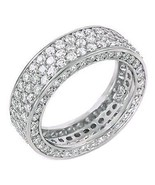 5.3c Iced Out 3 Lines Russian CZ Eternity Band Ring s 5 - $81.00