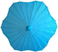 Scalloped Aqua Parasol Paper Umbrellas - $21.95
