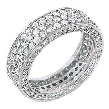 5.3c Iced Out 3 Lines Russian CZ Eternity Band Ring s 8