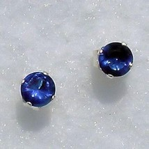 5mm Ceylon Sapphire created Stud Earrings 925 SS 1.0ct - $9.50