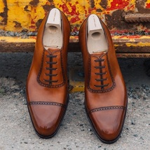 Handmade Men's Brown Dress/Formal Leather Oxford Shoes image 3