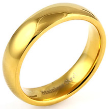 5mm Comfort Fit Gold Stainless Steel Wedding Band s 6 - $13.00