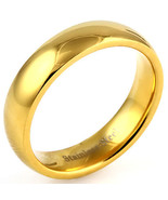 5mm Comfort Fit Gold Stainless Steel Wedding Band sz 12 - $13.00