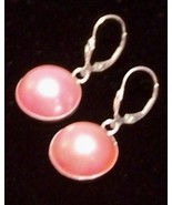 Mabe Pearl Sterling Silver Earrings PINK 16 mm ... - $155.00