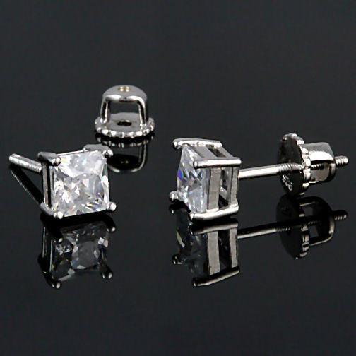 5mm Screw-Back Russian Ice CZ Stud Earrings 925 Silver Princess Cut 1.5 carats