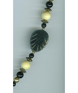 Hematite Onyx  Faux Ivory Lucite  Necklace Costume Jewelry - $16.00