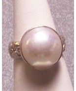 Mabe Pearl Sterling Silver Ring Creamy White 16mm SZ 7.5 MADE IN USA - $89.00
