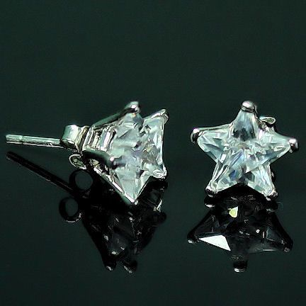 5mm Star Cut Russian CZ BASKET Set Earrings 925 Silver