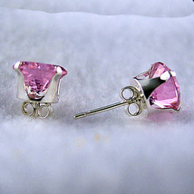 5mm created Pink Sapphire Stud Earrings 925 SS 1.0ct - $9.50