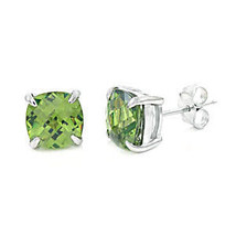 6.5ct, 8mm Cushion Cut Peridot Crystal Stud Earrings 925 Silver - $28.00