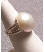 Mabe Pearl Sterling Silver Ring Creamy White 17mm SZ 7.5 MADE IN USA - $89.00