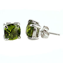 6.5ct 8mm Peridot Crystal Cushion Cut Stud Post Earrings 925 Sterling Silver - $24.00