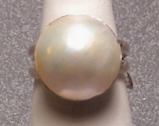 Mabe Pearl Sterling Silver Ring Creamy White 17mm SZ 7.5 MADE IN USA
